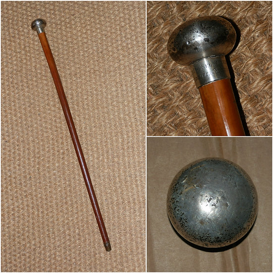 Antique Military Hallmarked 1913 Silver Presentation Swagger Stick 'SEGt T.Need'