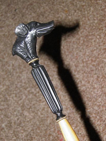 Antique PEERLESS Black Canopy Umbrella With Hand Carved Elephant Calf Handle