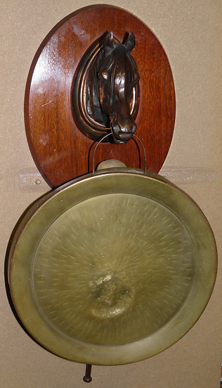 Antique Horse Head Dinner Gong With Striker Mounted Onto A Mahogany Plinth