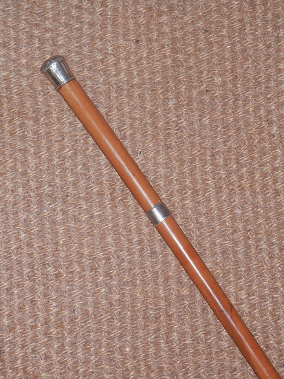 Antique Silver Top and Collar Gentleman's Malacca Walking Stick 94cm