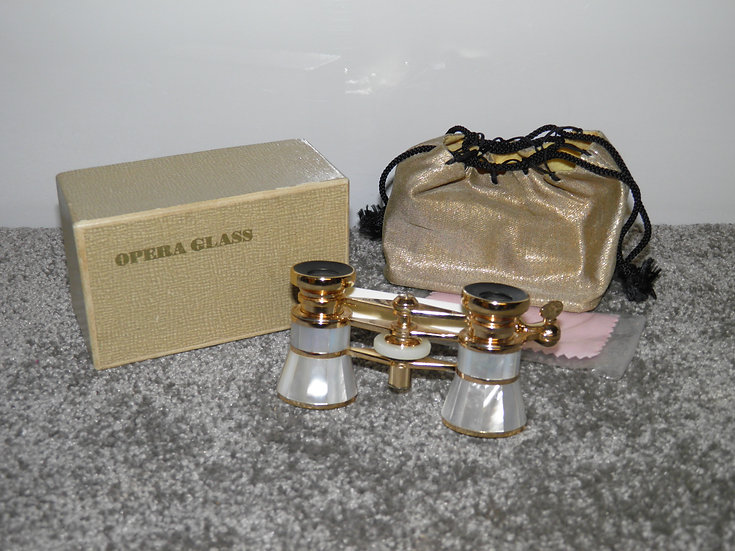 Antique Pair Of 'Dainty' Mother Of Pearl Ladies Opera Glasses/Binoculars - Boxed
