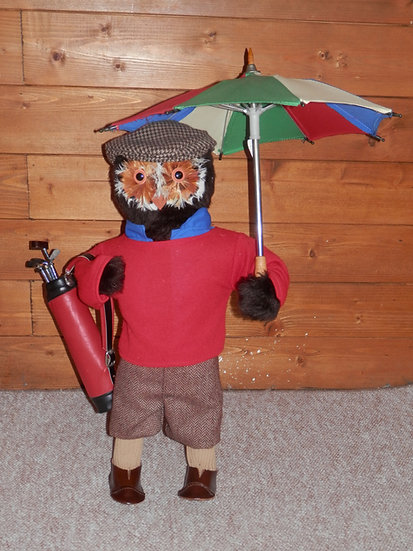 Vintage Abercrombie & Fitch London Vintage Golfer Feathered Owl Tweed Doll/Toy