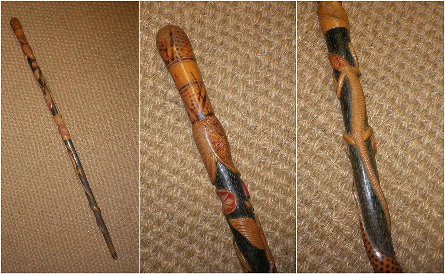 "Antique Mexican Walking Cane - Detailed Animal Theme Shaft - ""Laredo, Mexico"""
