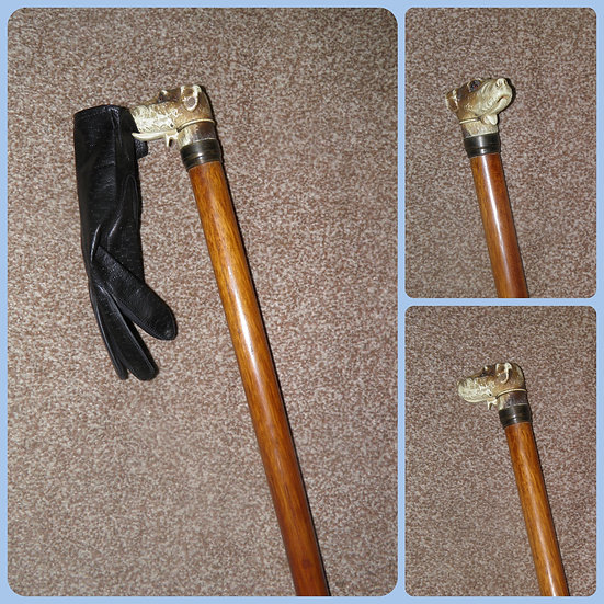 Antique Dogs Head Silk Glove Holder Topped Walking Stick/Cane 89cm