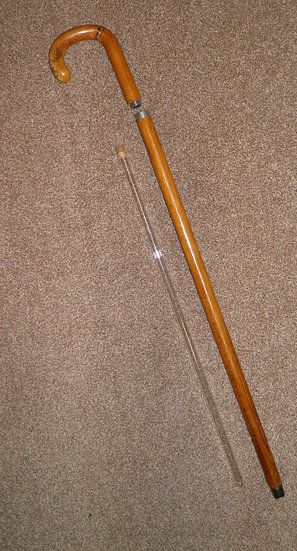 Vintage Circa 1950's Wooden Crook Topped Gadget Tippling Walking Stick/Cane 88cm