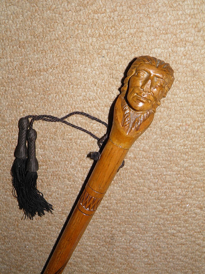 Antique Walking Stick/Cane W/ Hand-Carved Native American Indian Man Top - 89cm