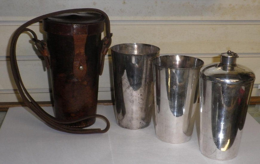 Antique Silver Spirit Flask With 2 Silver Cups Complete With Leather Case