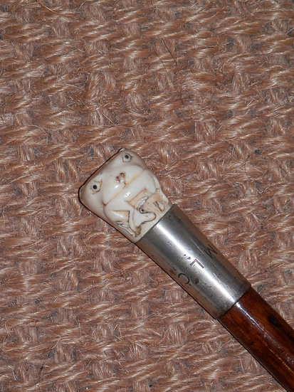 Antique Ivory Lion and Deer Handle Hallmarked Silver Collar Dress Cane 85cm