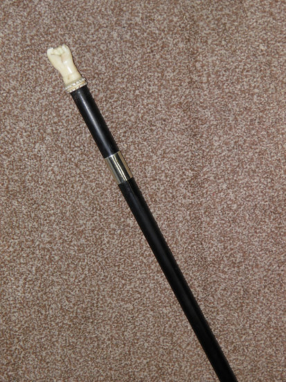 Antique Ebony Walking Stick With Hand Carved Bone Fist Top And Nickel Collar