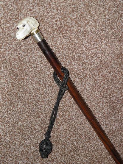 Antique Hallmarked 1920 Silver Walking Stick W/Carved Bone Saluki Dog's Head Top