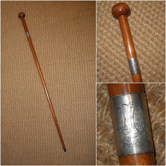 Antique Cherry Wood Presentation Walking Stick/Cane - 'To H.H From Winnie'