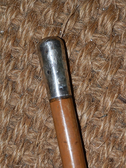 Antique Hallmarked 1900 Silver Swagger Stick By Ben Cox  'St J Browne 1st VBNR'