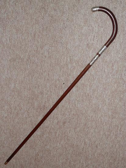 Edwardian Walking Stick - Crook Handle W/ H/m Silver Collar & Details B'ham 1908