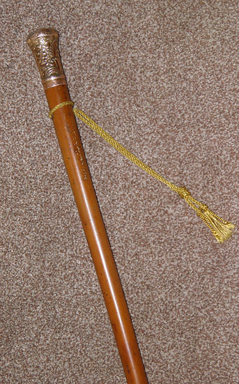 Antique Repousse Gold Plated Malacca Walking Stick / Bandmasters Cane - 91cm