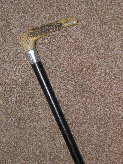 Antique Hallmarked 1909 Silver Presentation Antler Top  Ebony Walking Stick/Cane