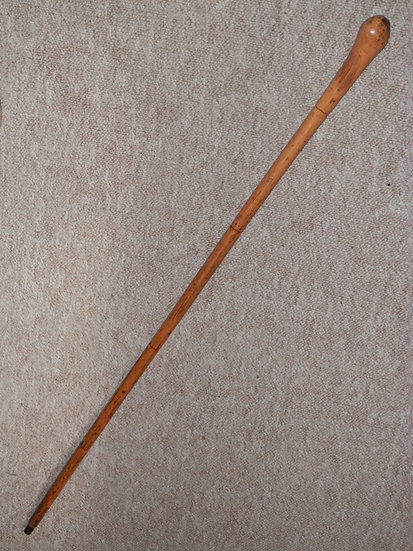 Antique Rigid Bamboo Walking Stick/Cane W/ Root Ball Coppice Handle - 89cm