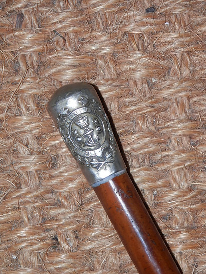 Antique Royal Marine Artillery Silver Top Swagger Stick 63cm