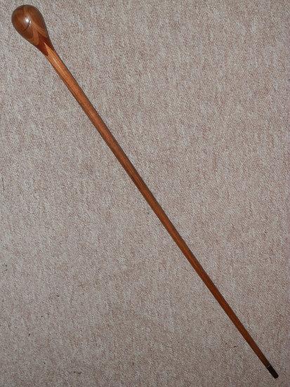 Antique Acacia Walking Cane - Inset Segmented Pattern Pommel Handle/Top - 86cm
