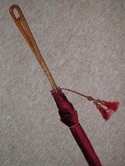 Vintage Hand Carved Handled Umbrella With Burgundy Canopy & Tassel