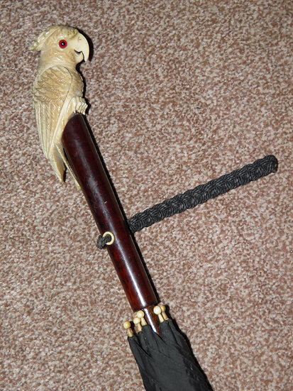 Antique Black Canopy Umbrella & Intricately Carved Parrot Handle With Glass Eyes