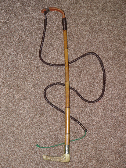 Victorian Bamboo Hunting Whip With Plaited Leather Thong 'George Whyte Melville'