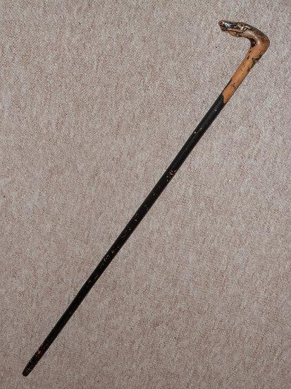 Antique Greek Corfu *Kepkypa* Walking Stick W/ Hand-Carved Horse & Man Handle