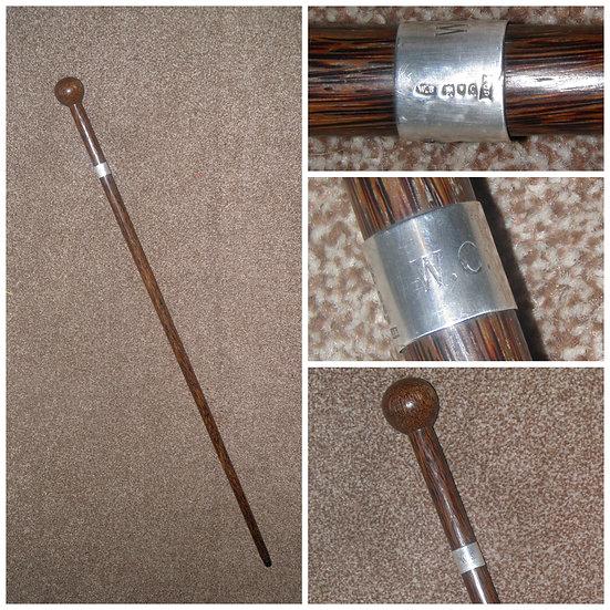 Antique Hallmarked 1898 Silver Palm Wood Walking Stick By Ben Cox -Inscribed W.C