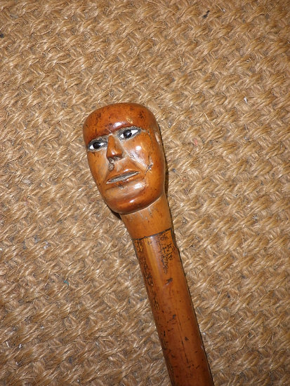 Antique Wooden Primitive Carved Face/Head Topped Walking Stick 87cm