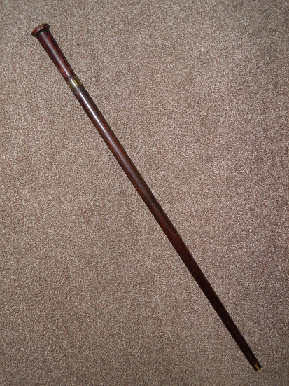 Vintage Solid Wooden Walking/Gadget Sword Stick/Cane With Brass Collar
