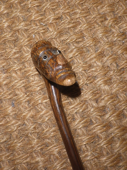 Antique Dress Cane With Wooden Carved Puppet Top With Glass Eyes 95cm