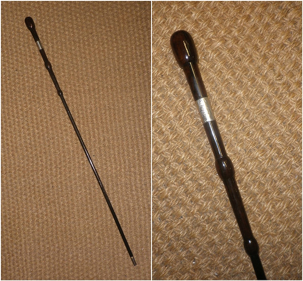 Antique Silver Carved Wooden Dress Cane / Swagger Stick - 79.5cm