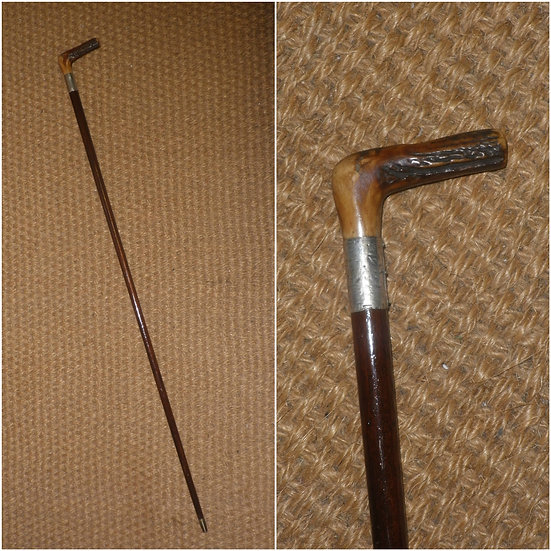 Antique Hallmarked 1919 Silver Traditional Antler Topped Walking Stick/Cane
