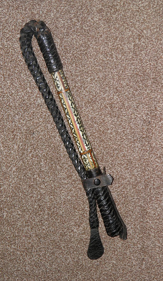 19th Century Colonial Officers Leather Bound Mother Of Pearl Inlaid Gadget Whip