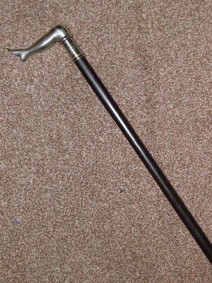 Antique Ebony Silver Plated Leg/Boot Window Tap Dress Cane / Walking Stick