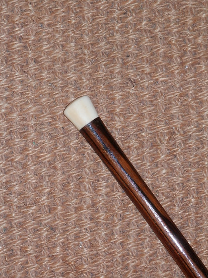 Antique Ivory Top and Ferrule Oval Shape Rosewood Walking Stick 92cm