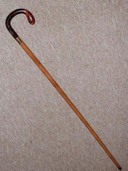 Antique Walking Stick W/ Faux Tortoiseshell Handle & 18 Carat Gold Plate Collar