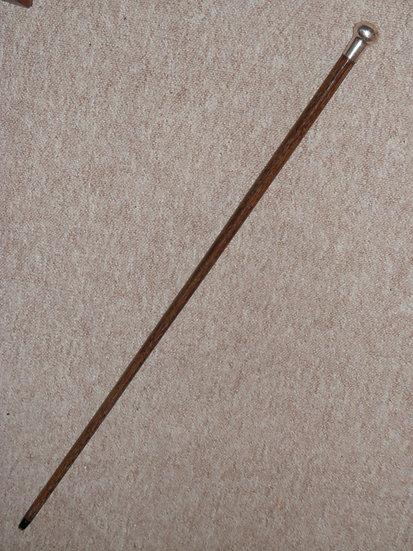 Antique Walking Stick W/ Silver Pommel Top H/m London 1919 - 89cm - Maker 'J.S'