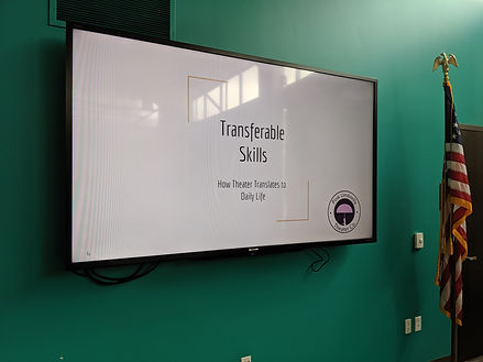 "Image of a screen showing the following text ""Transferable Skills"" How Theater Translates to Daily Life"