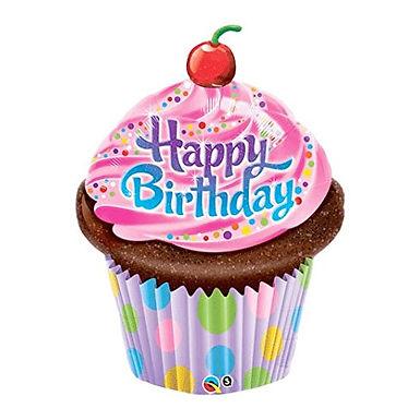 Happy Birthday Cupcake Supershape Balloon