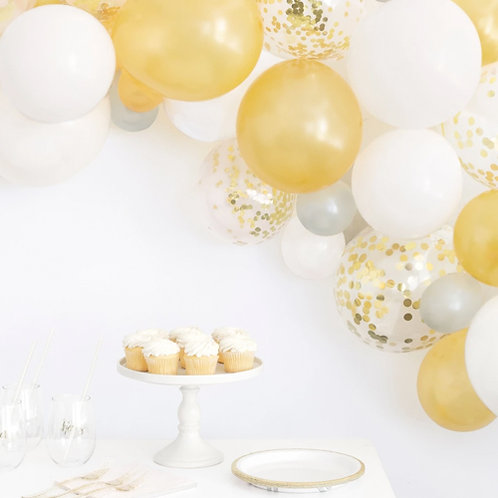 Gold and White Balloon Arch Kit