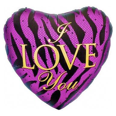 I Love You 18 inch Zebra print Foil Balloon