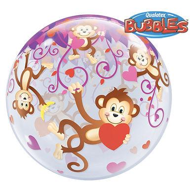 Monkey's with Hearts Bubble Balloon