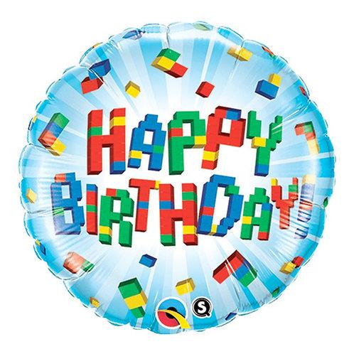 "Happy Birthday Bricks 18"" Foil Balloon Helium Filled"