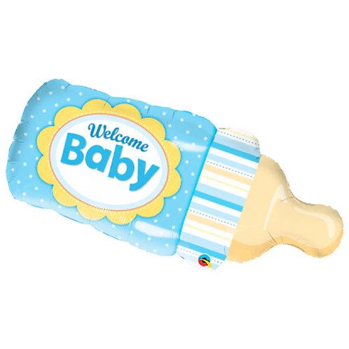Welcome Baby Boy Bottle Supershape Balloon