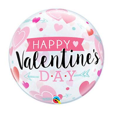 Happy Valentine's Day Hearts and Arrows Bubble Balloon