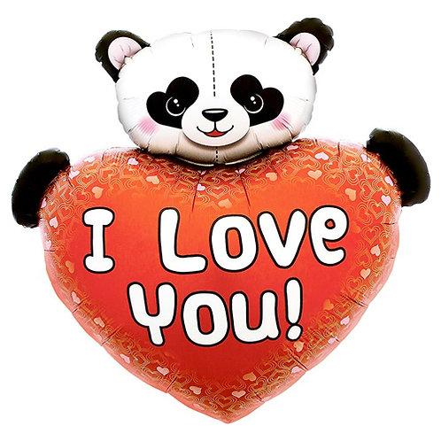I Love You Panda Heart Supershape Balloon