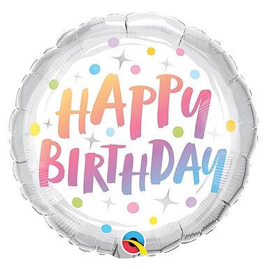 "Happy Birthday Rainbow Dots 18"" Foil Balloon Helium Filled"