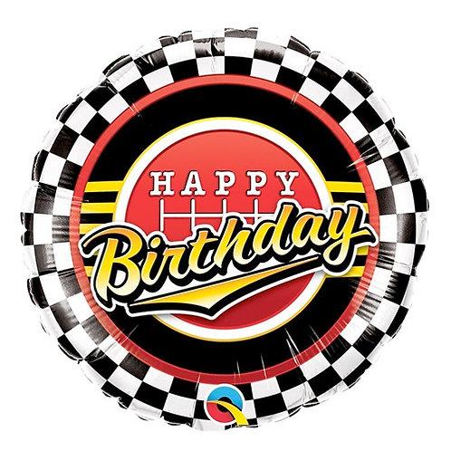 "Happy Birthday Racing 18"" Foil Balloon Helium Filled"