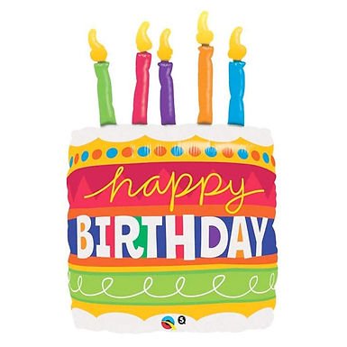 """Happy Birthday Cake with Candles 35"""" Foil Balloon Helium Filled"""
