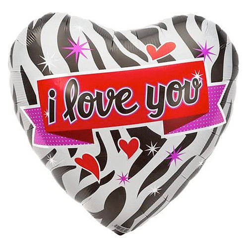I Love You Zebra print Heart Foil Balloon